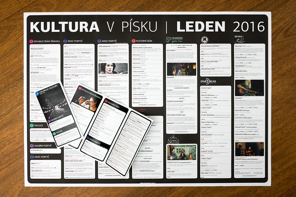 Kulturní přehled na leden 2016. Plakát a skládačka